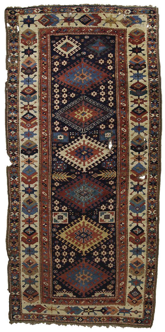East Caucasian long rug, circa 1800, 1.32 x 2.72m. Zaleski Collection