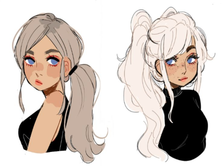 girls with ponytails drawing