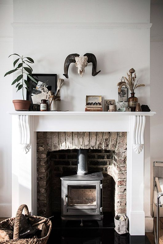 Small Iron Fireplace Inside A Built In