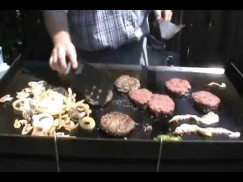 Gooey Arm Burger On Blackstone Grill Cooking On A