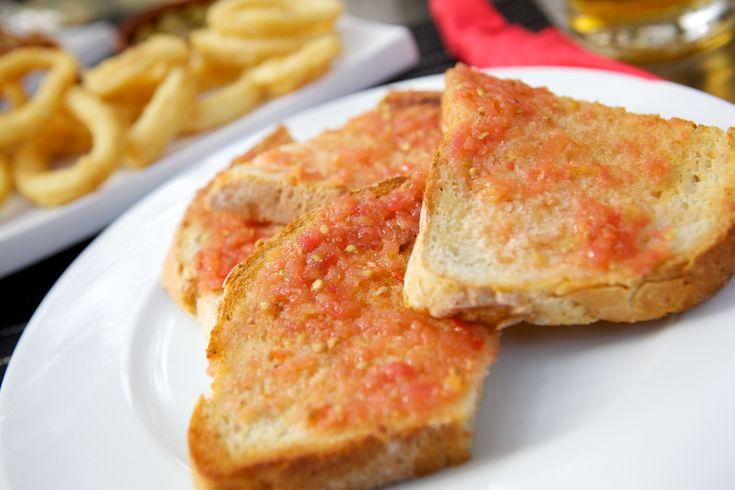 In Barcelona: Pa amb tomàquet (Tomato rubbed bread) #Spanish #Food #Tapas #Basics