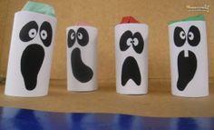 Fantasmas con tubos de cartón con sorpresa para Halloween #Manualidades #Reciclaje #Halloween
