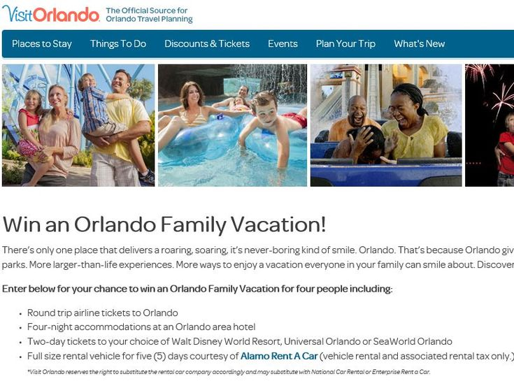 "Enter the VisitOrlando.com ""Win an Orlando Family Vacation"" Sweepstakes for a chance to win a 5-day/4-night trip for four to Orlando, FL!"
