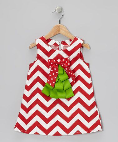 Let your little one glow during the holidays with this Red & White Zigzag Christmas Tree Swing Dress by Caught Ya Lookin' on #zulily!