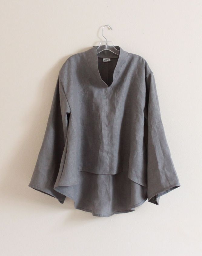 gray linen asian wavy blouse