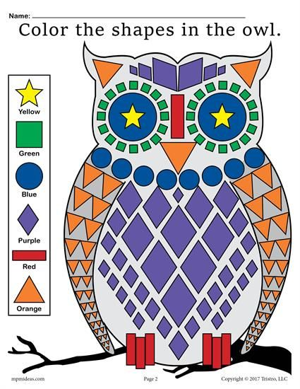 FREE Printable Owl Shapes Worksheet and Coloring Page! Shapes coloring pages like this one are great for preschoolers and kindergartners. Practice shape recognition, color recognition, fine motor skills, and more! Get the free shape worksheet here --> https://www.mpmschoolsupplies.com/ideas/7758/free-owl-shapes-worksheet-coloring-page/