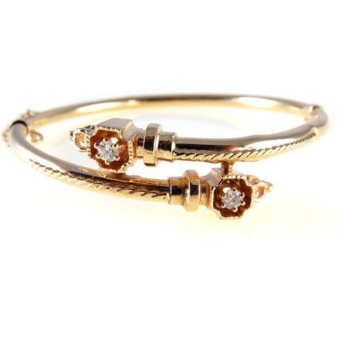 Etruscan Revival Victorian 14k Gold Diamond Hinged Bangle Bracelet