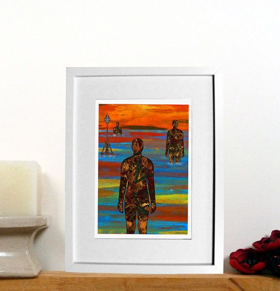 Another place Crosby iron men print  Liverpool print  Beach