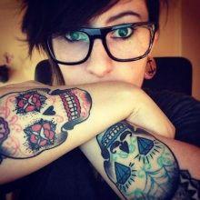 Sexy Sugar Skull Elbow Tattoos