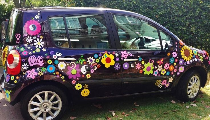 Hippy Car Flower Graphics Sunflower And Daisy Car Stickers By