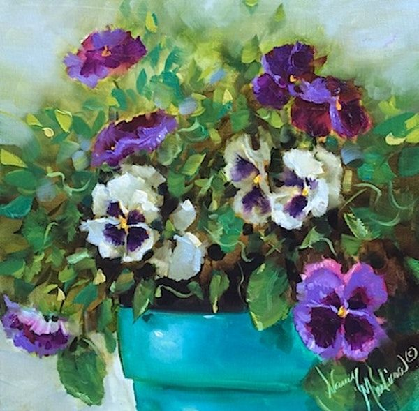 New Pansy Video Double Feature Pansies And Poppies Flower Paintings By Nancy Medina By Poppy Flower Painting Famous Flower Paintings Oil Painting Flowers