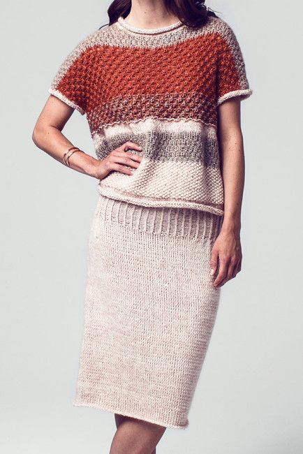 Cropped sweater in earth tones + matching skirt FREE knitting patterns in German (hva)