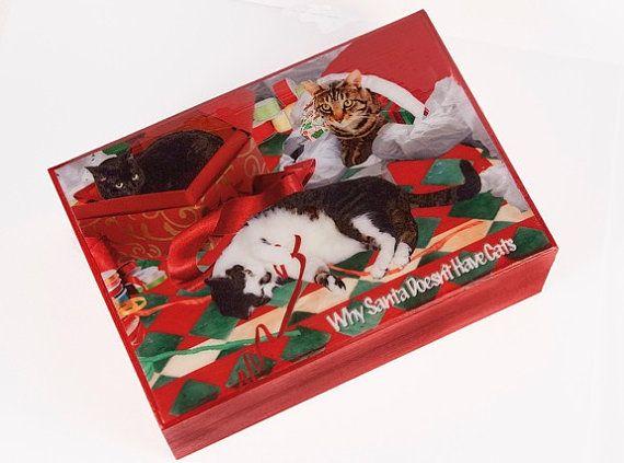 Large Keepsake Box Wood Cat Christmas Gift by DeborahJulian
