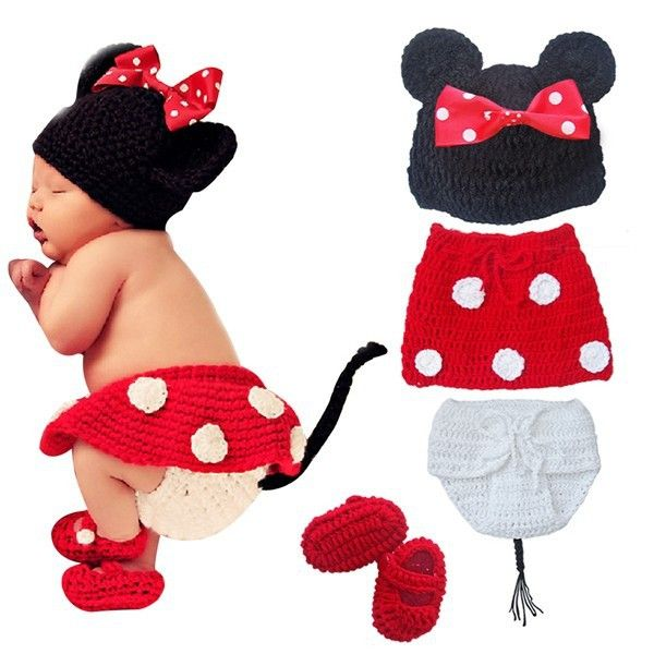 Minnie Mouse Baby Photography Prop Outfit Hat Cap Disney Cartoon Halloween Costume Newborn Infant