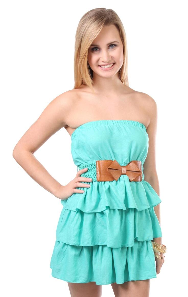 Deb Shops linen triple tier strapless #dress with crochet #bow belt