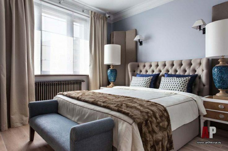 Фото интерьера спальни квартиры   Дизайн интерьера квартиры цвета кобальта и бирюзы в стиле фьюжн   Apartment interior design cobalt blue and turquoise fusion