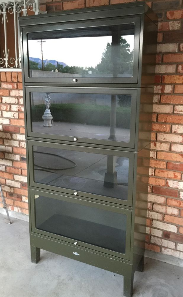 Vintage Globe Wernicke Metal Amp Glass Barrister Bookcase