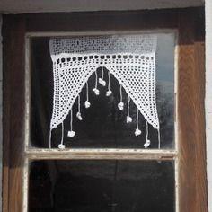 Rideau bellilois blanc coton crochet fait main 30x38