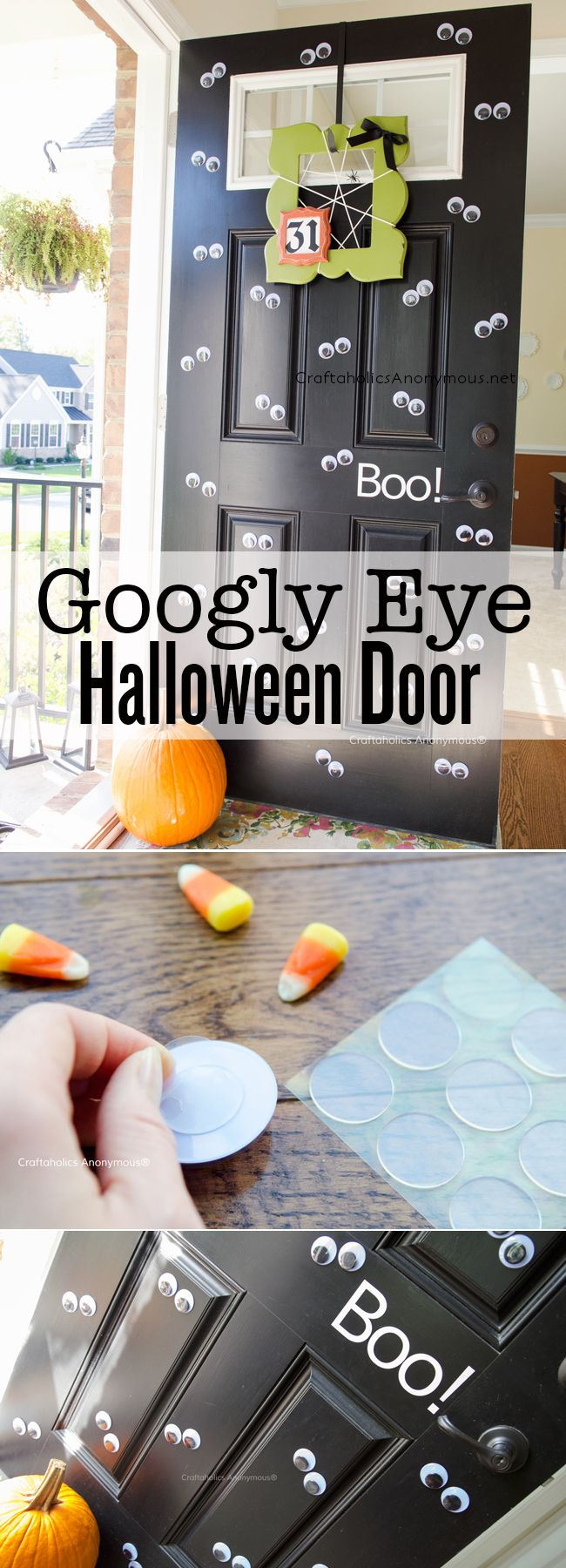 Googly Eye Halloween Door. Easy last minute Halloween decor for your front door- add a bunch of Googly eyes! Click for tips on how to reuse the wiggle eyes year after year. MichaelsMakers Craftaholics Anonymous