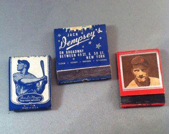 Vintage 1930's Sports Figure Matchbook Covers, Jack Dempsey's Restaurant, Joe Di Maggio's, Luke Hamlin Detroit Tigers, Feature Matches