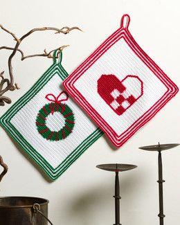 Kinna Textil, Hekleoppskrift Grytlappar Julehjerte og Julekrans, 115675