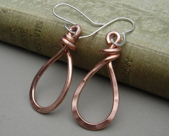 Copper Teardrop Earrings  Dangle Earrings by nicholasandfelice, $18.00