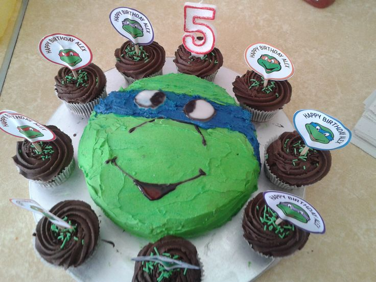 Teenage Mutant Ninja Turtle Cake with cupcakes and toppers