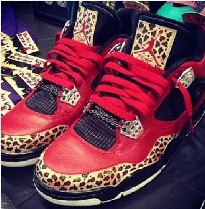 Air Jordan 4 Retro Leopard and Red Jordans!                                                                                                                       Ⓙ_⍣∙₩ѧŁҝ!₦ǥ∙⍣