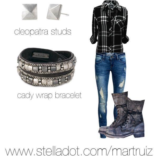 A fashion look from March 2015 featuring Stella and dot bracelet and studs. www.stelladot.com/martruiz