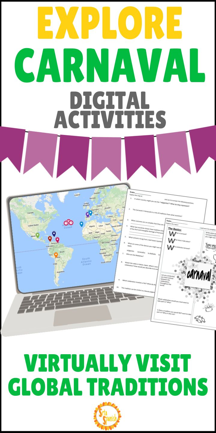 This is a great way to get your students engaged in learning about culture and geography!  Explore CARNAVAL through interactive Google maps, videos, images, and readings. Great, no prep Carnaval lesson for your Spanish students!