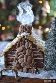 I wish Icould sneak off to the mountains and stay in a cabin like this! Mason and Brooke helped build this little gingerbread cabin...