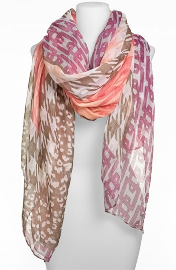 Lulu Multi Print Sheer Scarf available at Nordstrom NorthPark Center. Bold, Colorful, and edgy creates endless styling possibilites.