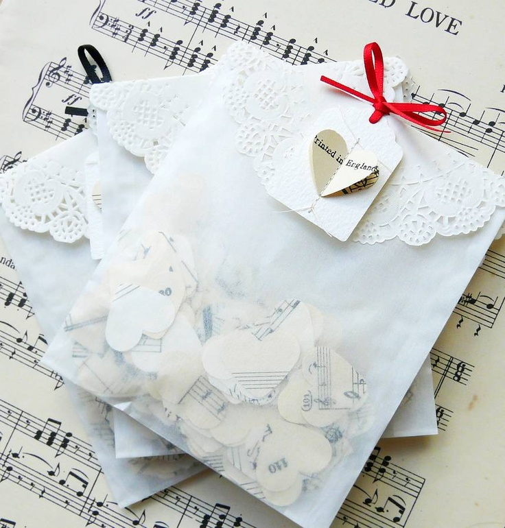 Flutter - Vintage Music Sheet Heart Confetti