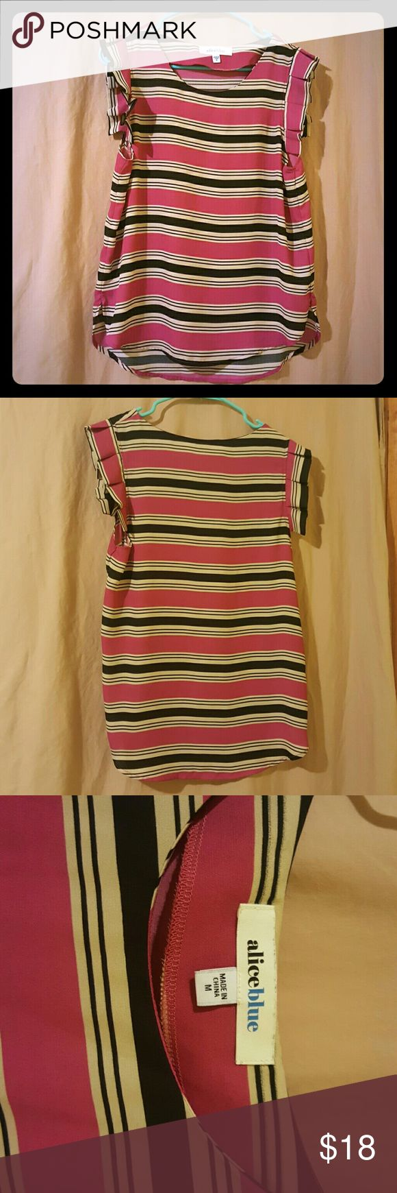ALICE BLUE Top Very cute. Stripes are pink, black, and tan. Only written once. Lost 43 lbs & didn't fit anymore. Can be dressed up or down. Alice Blue Tops Blouses