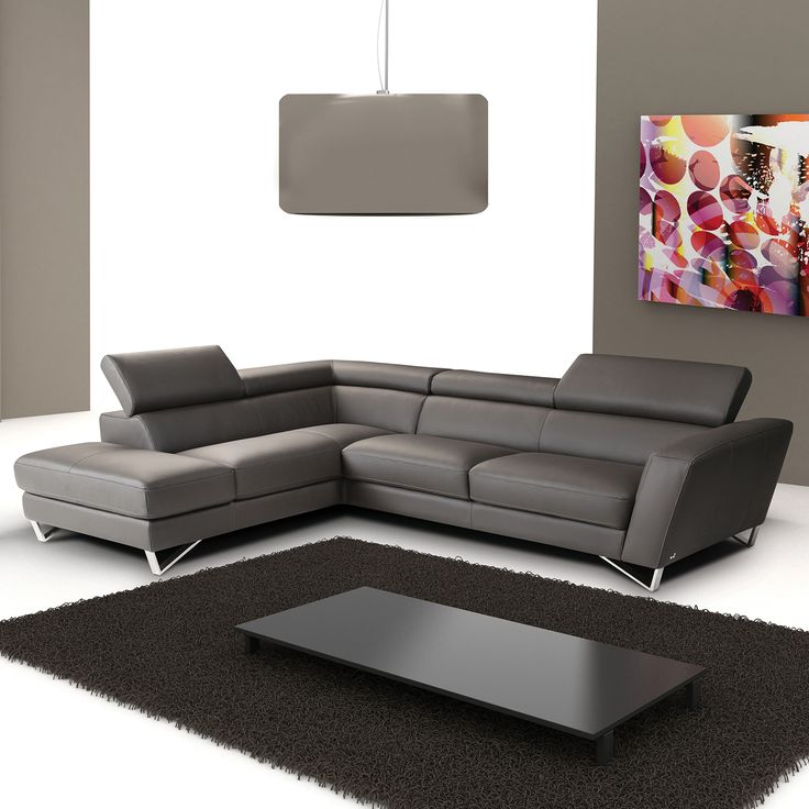 ju0026m furniture sparta italian leather sectional in grey w left facing chaise