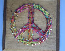Peace Sign String Art, wall art, nail art, string art, peace and love, kids gift, birthday gift, custom art, home decoration, home decor