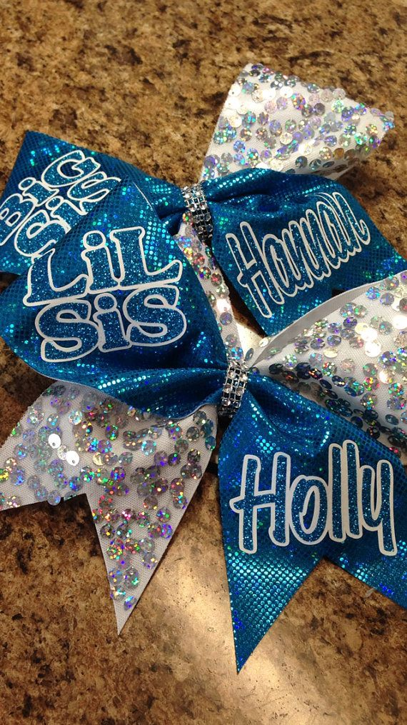 Hey, I found this really awesome Etsy listing at https://www.etsy.com/listing/173718395/big-sis-lil-sis-customized-cheer-bows