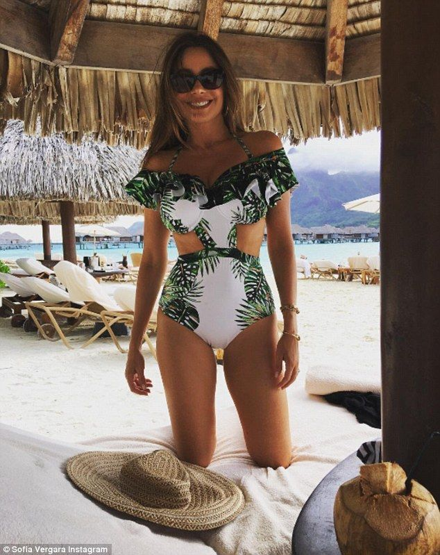 Absolutely flawless: On Tuesday, Sofia Vergara wowed in a green and white swimsuit that fe...