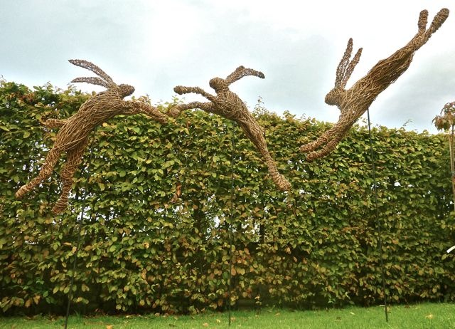 3 Willow Hares by Julieann Worrall Hood commissioned by Lady Lansdowne for Bowood House, Wiltshire.