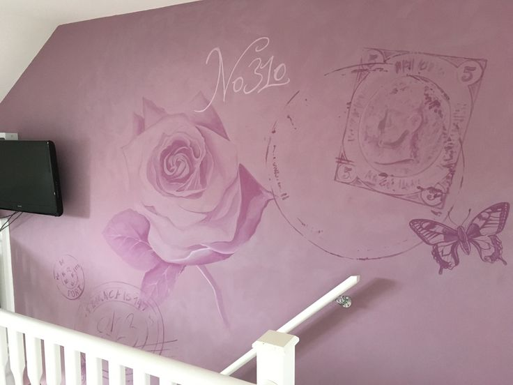 Rose painted feature mural