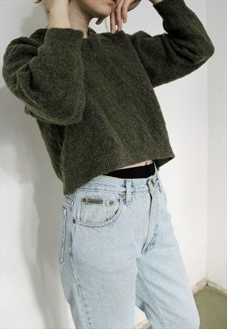 Short+Wool+Green+Sweater
