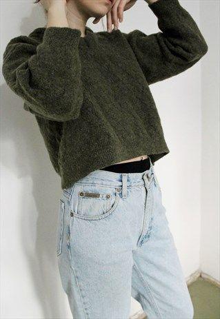 Short+Wool+Green+Sweater