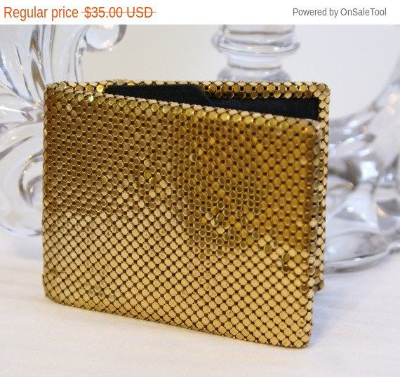 On Sale Vtg Whiting and Davis Gold Mesh Wallet by QsVintage