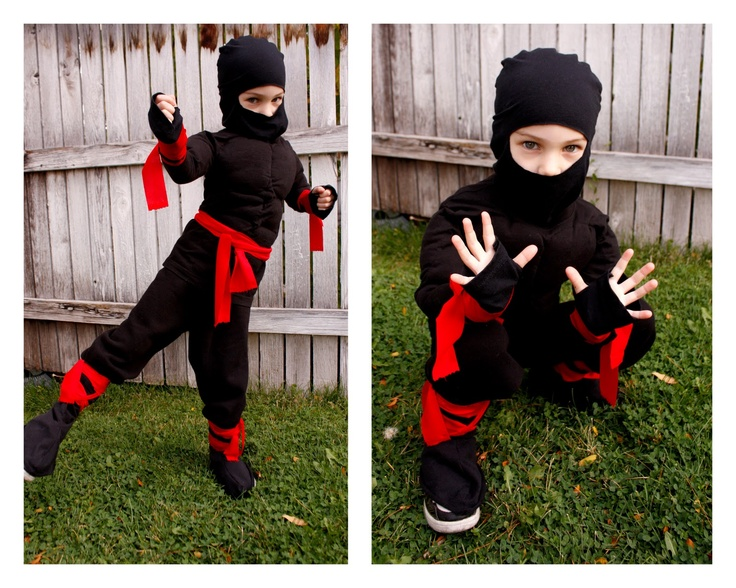 ninja costume: black sweats, lots of red fabric strips. This should work.