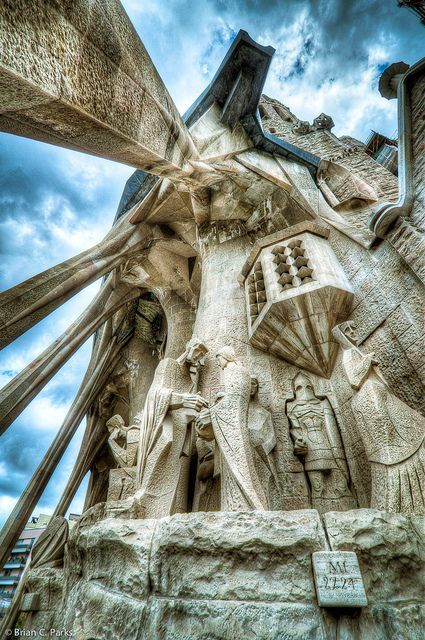 La Sagrada Familia Exterior Sculpture in Barcelona, Spain by briancparks, via Flickr  #MediumMaria