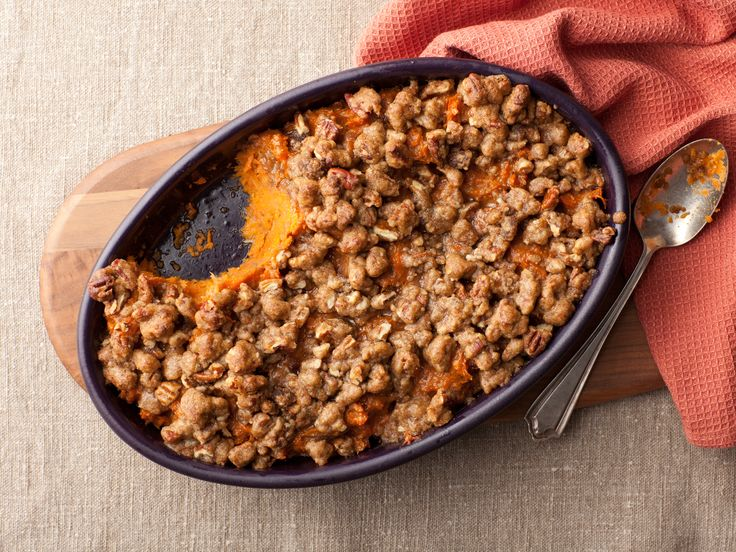 Feather-light whipped sweet potatoes and bananas get a tasty crunch with a sugar-pecan crumble.