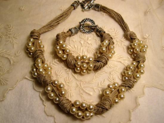 Como Hacer Collares De Perlas   collar y pulsera de lino y perlas fantasia lino,perlas fantasia ...