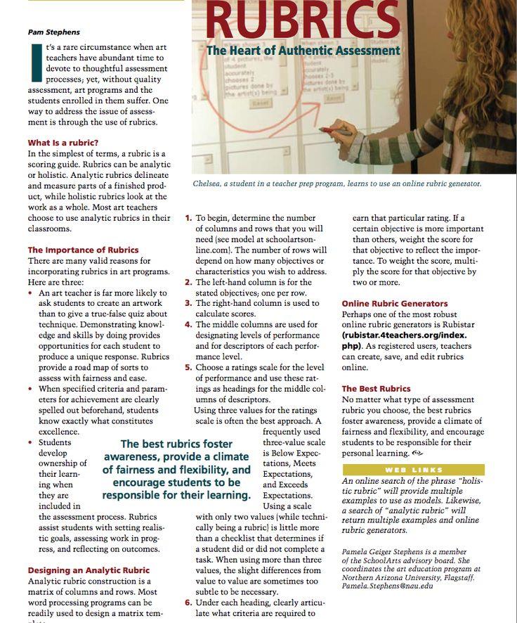 SchoolArts article on developing rubrics.