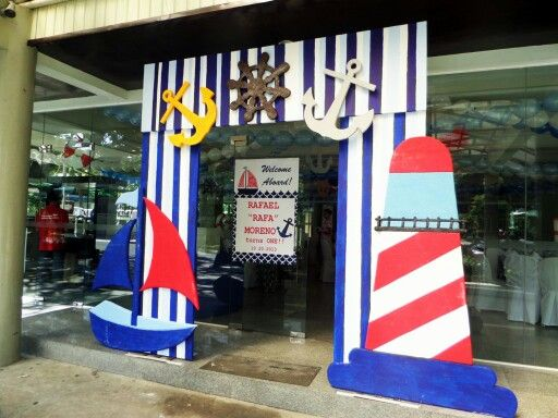 Nautical themed entrance arc party decor by j j for Anchor decoration party