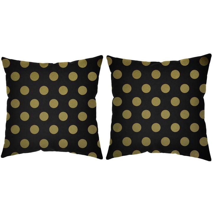 Metallic Gold Polka Dots Throw Pillows